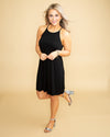 Champagne Weekend Halter Dress - Black