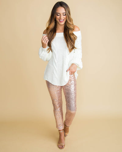 Champagne Wishes Off Shoulder Cable Knit Sweater - Off White