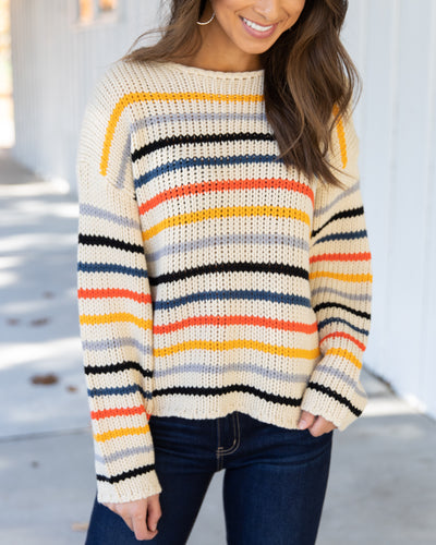 Chances Are High Sweater - Beige Multi