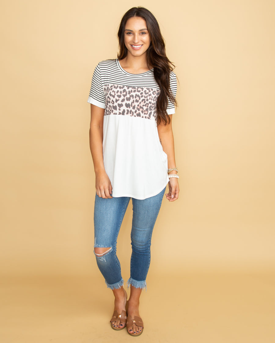 Change The Game Leopard Color-Block Top - Ivory