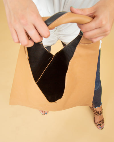 Charlee Triangle Hobo Bag - Tan