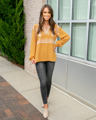 Charming Disposition Top - Mustard