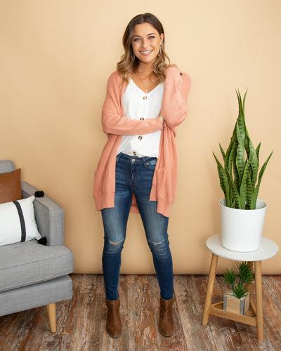 Chasing Memories Cardigan - Light Salmon