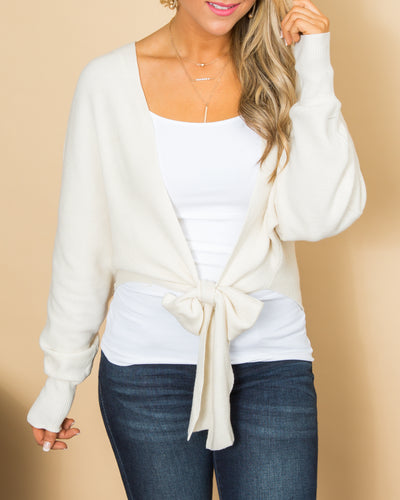 Chic And Sweet Front Tie Cardigan - Ivory