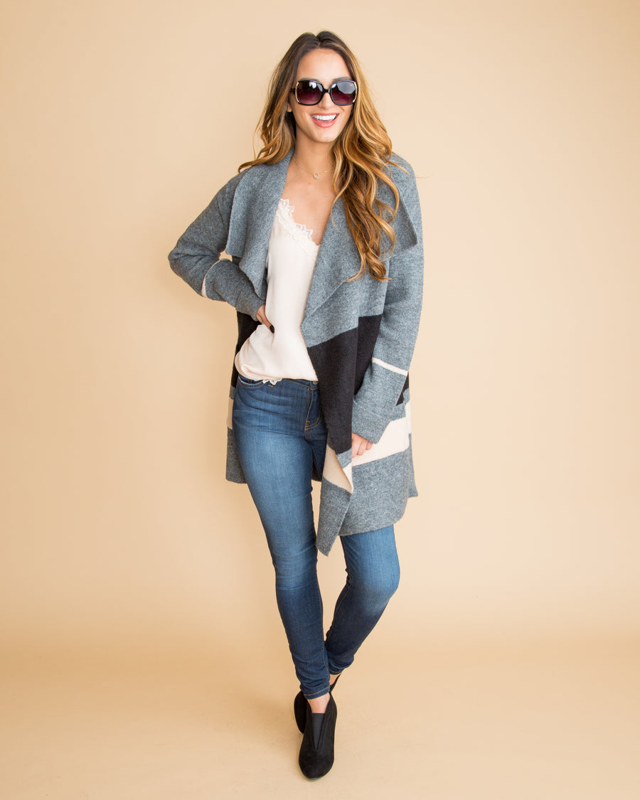 Chic Wishes Oversized Cardigan Coat - Grey