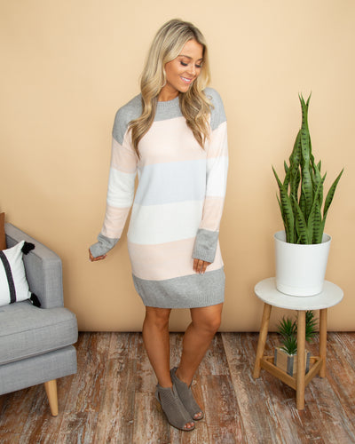 Chilly In Charleston Sweater Dress - Pale Pink