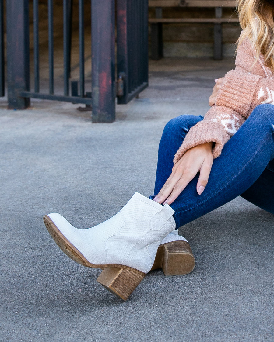 Chinese Laundry Tucker Cowboy Booties - White