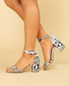 Chinese Laundry Charlize Snakeskin Block Heel - Black/Off White