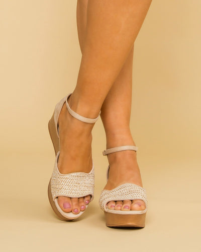 Chinese Laundry Cora Woven Wedge Shoe - Nude