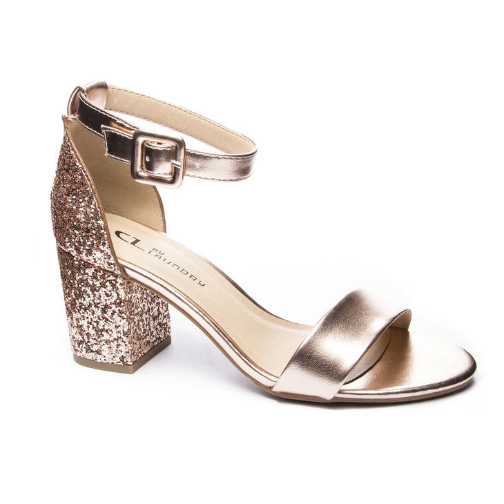 Chinese Laundry Jody Block Sequin Heel - Rose Gold