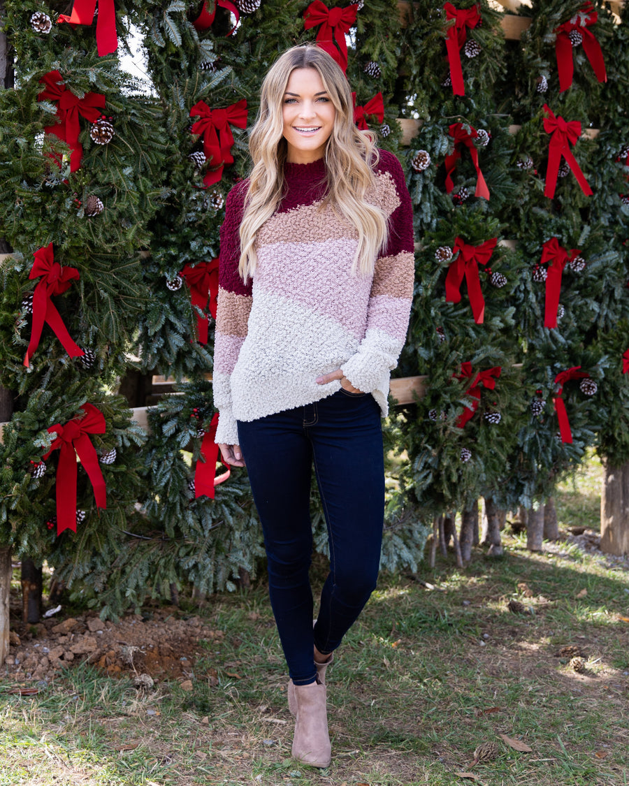 Choosing Cozy Sweater - Wine Multi