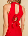 Christmas In The City Halter Dress With Back Tie Detail - Red