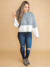 City Style Color-Block Cropped Sweater - Grey