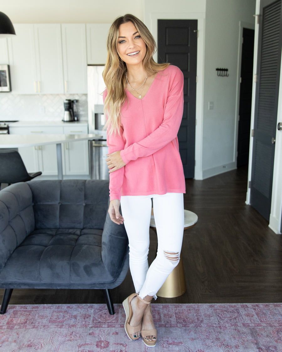 Classically Chic Top - Salmon Pink