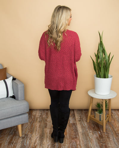 Clear Your Schedule Cardigan - Raspberry