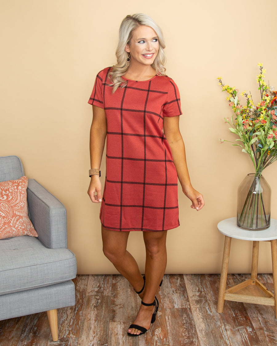 Close To My Heart Plaid Dress - Sunset Red