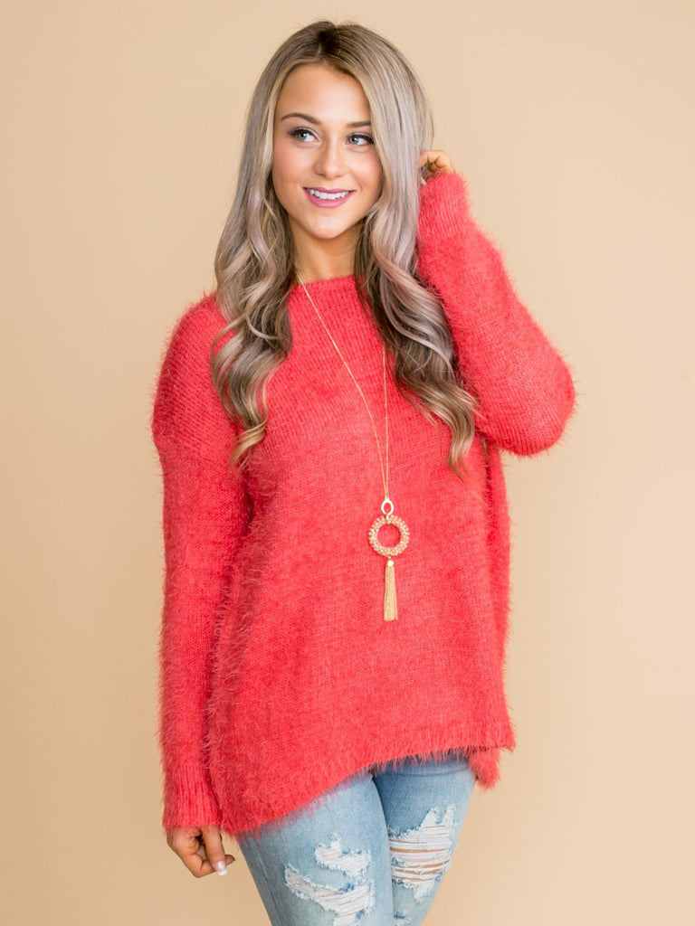 Closer Than Before Sweater - Coral