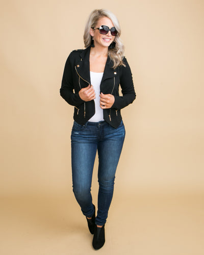 Cocktails In The City Moto Jacket - Black