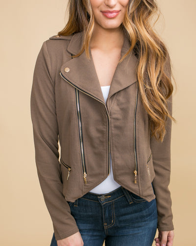 Cocktails In The City Moto Jacket - Mocha