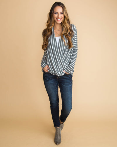 Comfort Is Found Stripe Draped Top - Grey