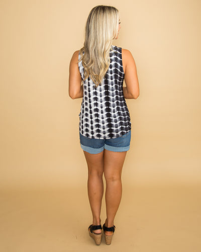 Complete With You Tie Dye Cutout Top - Black/Off White