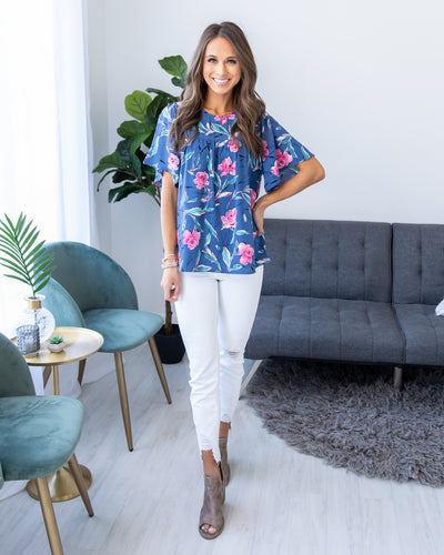 Connected To You Top - Denim Blue