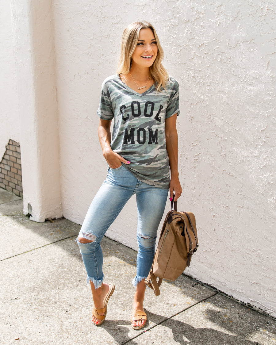 Cool Mom Graphic Tee - Camo