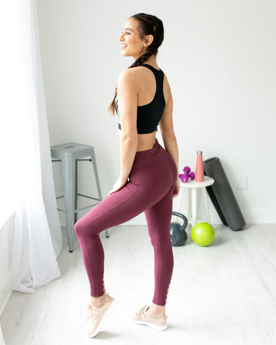 Cool Down Criss Cross Cutout Legging - Burgundy