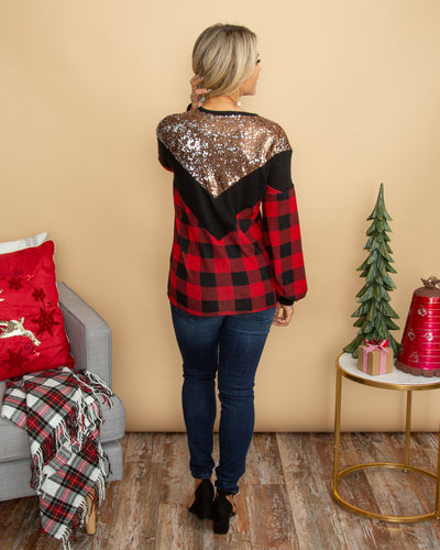 Cool For The Winter Top (Reversible Sequins) - Black