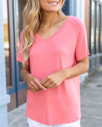 Couldn't Be Better V-Neck Top - Coral