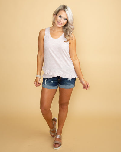 Courtney Ruffle Tank - Lt Blush