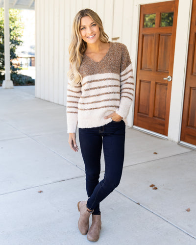 Cozier At The Cabin Sweater - Taupe/Cream