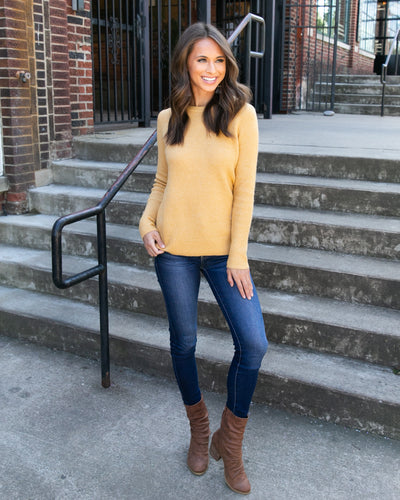 Cozy By The Fireplace Sweater - Mustard