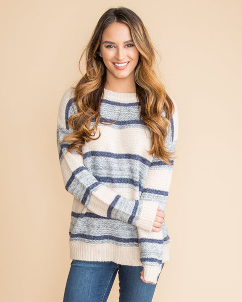 Cozy In Vancouver Stripe Sweater - Cream