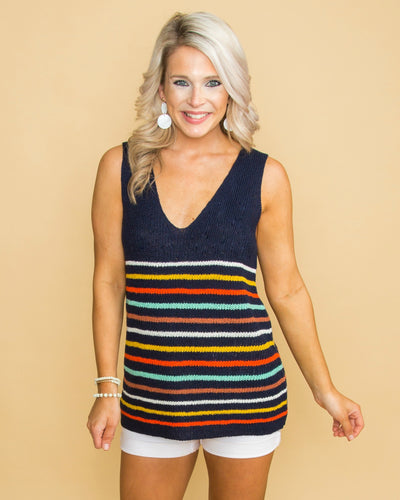 Crazy Little Thing Stripe Knit Tank - Navy