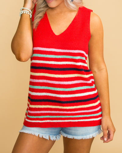 Crazy Little Thing Stripe Knit Tank - Red