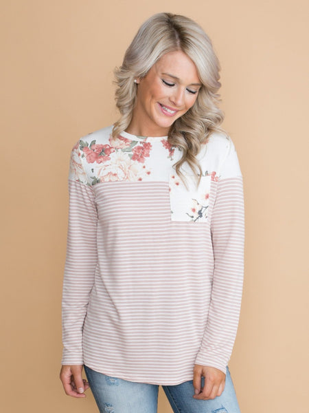 Cross My Heart Floral Stripe Top - Blush