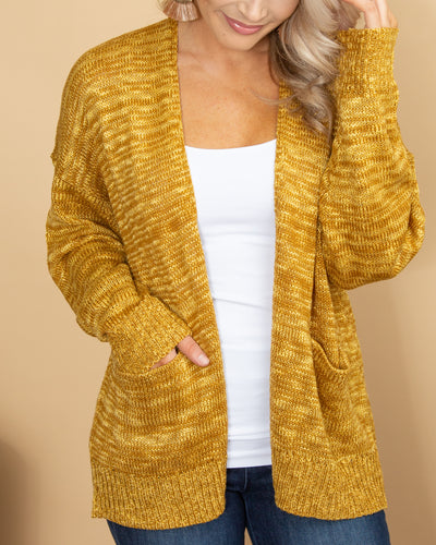 Cross My Path Cardigan - Mustard