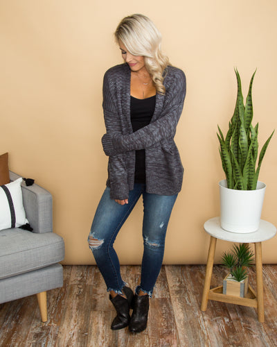 Cross My Path Cardigan - Steel