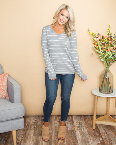 Crushing On Comfort Stripe V-Neck Top - Grey/Off White