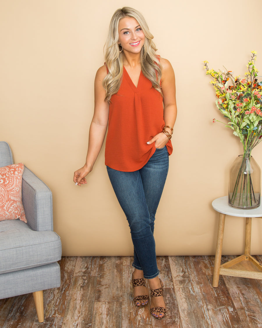 Dreaming Of Sunshine V-Neck Top - Burnt Orange
