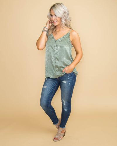 Daily Romance Front Button Up Tank - Sage