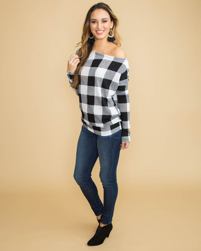 Dancing By The Fire Plaid Top - Black