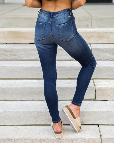 Danielle Distressed Skinny Jeans - Dark Wash