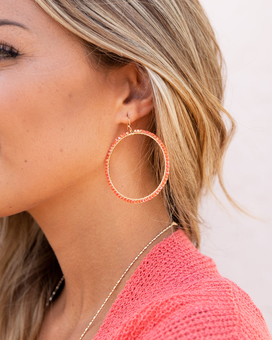 Daphne Beaded Hoop Earrings - Coral