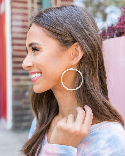 Daphne Beaded Hoop Earrings - Cream