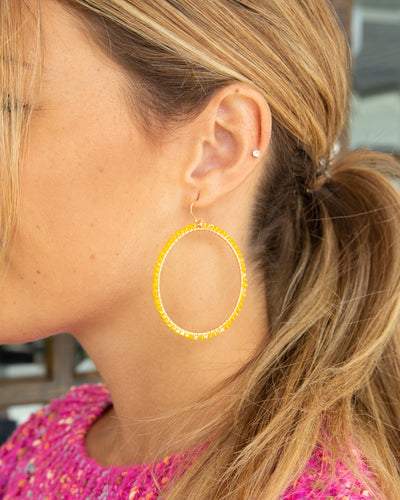 Daphne Beaded Hoop Earrings - Mustard