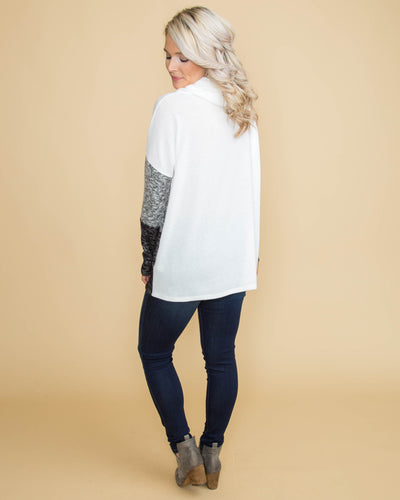 Day Date Color-Block Cowl Neck Top - Off White