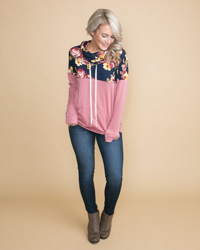 Definitely Delighted Floral Cowl Neck Pullover - Mauve