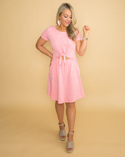 Destination Dreaming Front Tie Dress - Sun-Kissed Pink